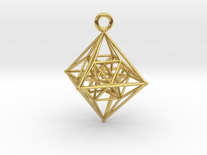 The 6th 4D Platonic Hypersolid - 24 Cell Octaplex in Polished Brass