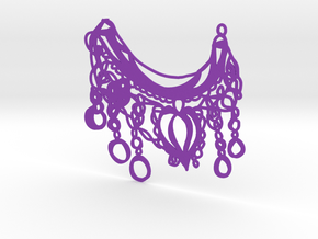 Boho Bubble Chain Statement Tribal Bib Necklace in Purple Processed Versatile Plastic