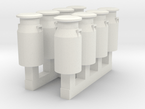 HO/OO GWR milk churns set of 8 in White Natural Versatile Plastic
