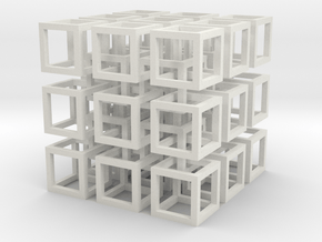 Interlocked Cubes in White Natural Versatile Plastic