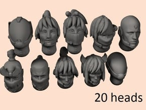 28mm Evil space elf heads in Smoothest Fine Detail Plastic