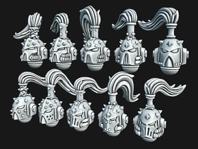 Studed Marine Helmets w Top Knot in Smooth Fine Detail Plastic: Small