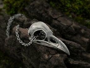 Medium Raven Skull Necklace in Antique Silver