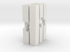 Triple Cross Puzzle (S) in White Natural Versatile Plastic