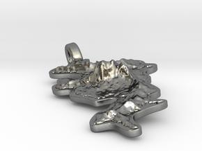 Bora Bora Pendant Jules Design in Polished Silver: Medium
