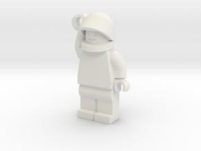MiniFig Helmet Keychain in White Natural Versatile Plastic