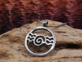 Snail and Waves Amulet in Antique Silver