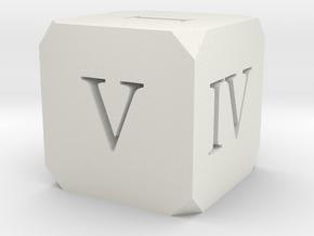 Hollow Dice Roman in White Natural Versatile Plastic