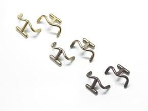 Detour Handlebar Cufflinks in Polished Bronzed Silver Steel