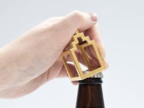 Open Huis bottle opener - Trap Gevel in Polished Bronzed Silver Steel