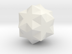 Small Ditrigonal Icosidodecahedron in White Natural Versatile Plastic