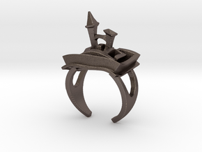 A Maze Ring Tower in Polished Bronzed Silver Steel
