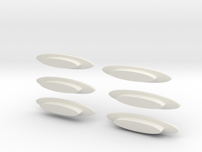 """Modern decorative """"surfboard"""" benches 6 pack in White Natural Versatile Plastic"""