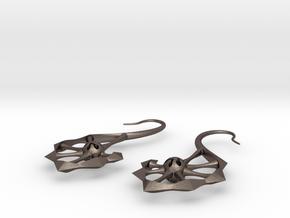 Spine Earrings in Polished Bronzed Silver Steel