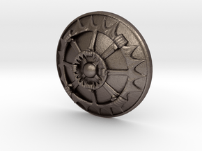 button in Polished Bronzed Silver Steel