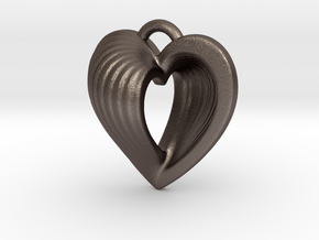 Heart Shell Pendant in Polished Bronzed Silver Steel