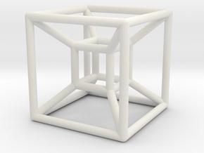 Hyper Cube 4D in White Natural Versatile Plastic