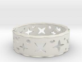 Ring Heart Star in White Natural Versatile Plastic