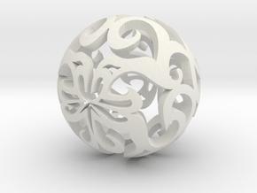 Curlicue ball 1 small in White Natural Versatile Plastic