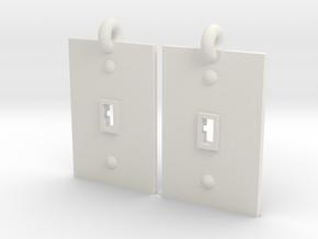Turned on/off earrings in White Natural Versatile Plastic