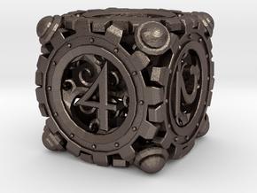 Steampunk D6 in Polished Bronzed Silver Steel