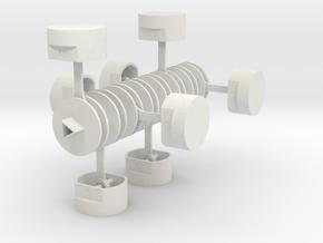 Crankshaft with Pistons in White Natural Versatile Plastic