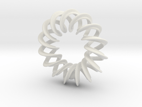 2 strand mobius right hand spiral with ball pendan in White Natural Versatile Plastic