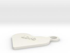Love Keyfob in White Natural Versatile Plastic