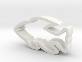 Fish shaped cookie cutter in White Natural Versatile Plastic
