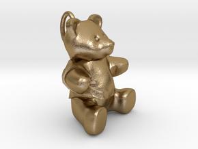 Teddy bear pendant  in Polished Gold Steel