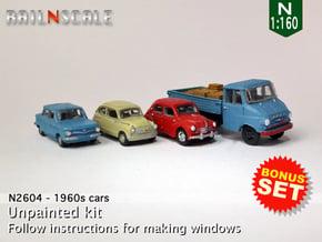 BONUS SET 1960s cars (N 1:160) in Smooth Fine Detail Plastic