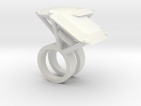 Mutant Ring no.4 in White Natural Versatile Plastic