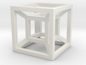 4D Cube in White Natural Versatile Plastic