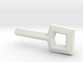 Square Key in White Natural Versatile Plastic