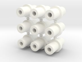 Double-ended 5mm pegs (x9) in White Processed Versatile Plastic