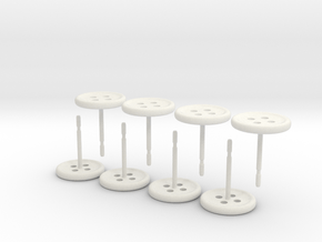 Button Earrings, 4 Pair in White Natural Versatile Plastic