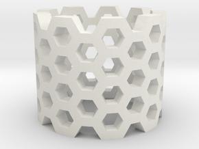 Honeycomb Ring in White Natural Versatile Plastic
