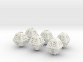 Lotto Dice(6x53) in White Natural Versatile Plastic