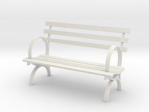 """1:24 Old Park Bench 54"""" (Not Full Scale) in White Natural Versatile Plastic"""