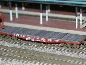 PRR FM Flat Car in S Scale in Smooth Fine Detail Plastic