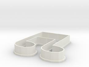 Cookie Music Note 1 in White Natural Versatile Plastic
