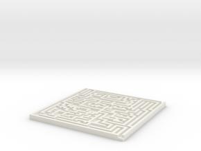 Square Maze Coaster in White Natural Versatile Plastic