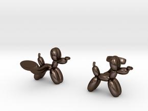 Balloon Dog Cufflinks in Polished Bronze Steel