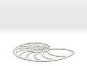 Nautilus Wireframe | pendant in White Natural Versatile Plastic