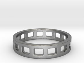Geometric Rectangles Ring Modern Jewelry in Natural Silver
