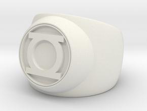 Green Lantern Ring- Size 6 in White Natural Versatile Plastic