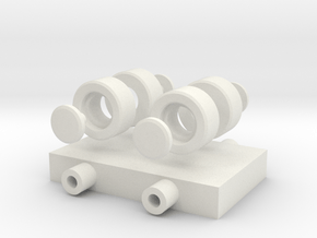 Simple Wheels, Pins and Chassis in White Natural Versatile Plastic