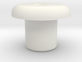 Gear Bolt Button in White Natural Versatile Plastic