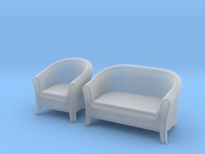 1:48 Club-Style Sofa Set in Smooth Fine Detail Plastic