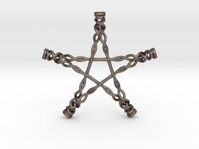 Twisted Pentagram in Polished Bronzed Silver Steel